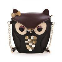 Leather Women Owl Print Satchel Messenger Shoulder Bag Handbag Crossbody Tote ES