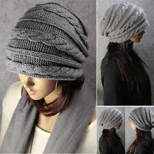 Grey Modern Unisex Oversized Cable Knit Baggy Beanie Slouch Hat Cap Warm Winter
