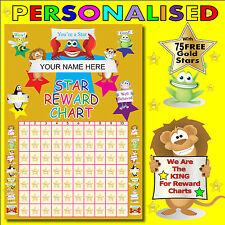 CHILDRENS Personalised Reward Chart & 75 Free Gold Stars