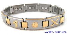"Lightweight Titanium Magnetic 8.5"" Bracelet Golf  2 Tone TI-Golf2T"