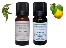 OLIO ESSENZIALE DI TEA TREE  E LIMONE - PURO 100% - 10ml X 2