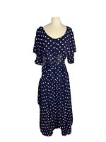 Vintage Womens Size 12 Polka A Dot Fit And Flare 50's Dress