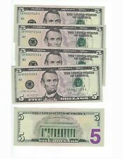 """UNITED STATES 2006  5 DOLLARS,  """"I""""   , 5  CONCEUTIVE SERIALS   UNC"""