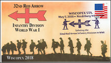 18-097, 2018, 32nd Red Arrow Infantry, World War I, pictorial, Event Cover, Wisc