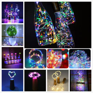 10-20 LED Bottle Fairy String Lights Cork Light Copper Wire Party Bottle Lights