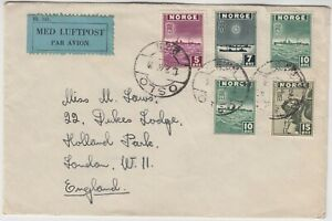 NORWAY 1944? multi franked air mail cover *OSLO-LONDON*