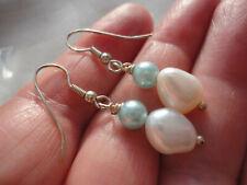 3 gram 39 mm drop pierced earrings Silver-plated 10 mm river pearl + pale blue