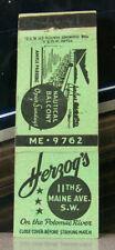 Vintage Matchbook Cover N4 Washington DC Herzog's On Potomac River Nautical