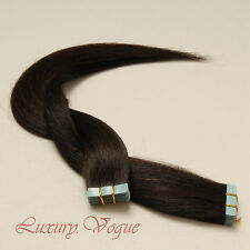 40Pcs Full Head Tape-in Extensions 100% Human Hair Remy A+ #2 (darkest brown)