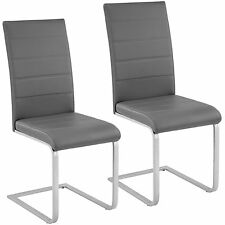 2x Esszimmerstuhl Freischwinger Stuhl Set Stühle Polsterstuhl Schwingstuhl grau