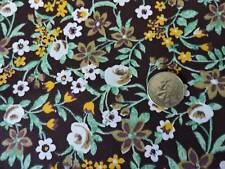 100% Cotton Fabric - Brown, White and Gold Flowers on Brown  - By The Yard