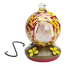 Hummingbird Feeder Hand-Blown Glass Yard Garden Patio Red Tubes 24 oz Decorative