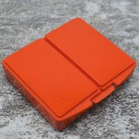 Tupperware Divided Stamps n Things Hinged Pill Box Container #1863 Dark Orange