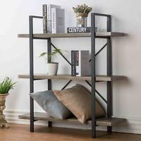 Grey Oak Rustic Bookcase Bookshelf Vintage Industrial Metal Display Tower Shelf