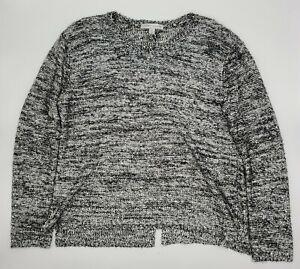 Larry Levine Crotchet V Neck Sweater Sequin Sweater Heather Gray Size Medium