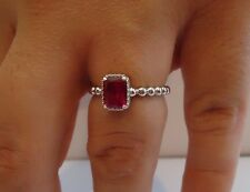 BEADED SHANK EMERALD CENTER RING W/ 2 CT LAB RUBY/ 925 STERLING SILVER /SZ 5-9