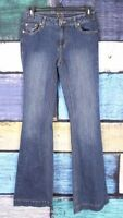 Cache Size 2 Dark Wash Denim Thick Stitch Stretch Flare Bootcut Boot Jeans