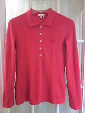Authentic Lacoste Red Color 1/2 Buttons Up Long Sleeve Polo Shirt Women 36 **VG