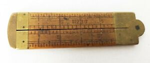 """VINTAGE STANLEY 6 """" FOLDING RULE No. 36 BOXWOOD with BRASS CALIPER"""