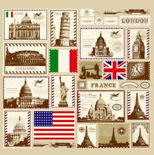 Retro Stamp Pattern Shower Curtain Bathroom Waterproof Fabric 72 inch 12 Hooks