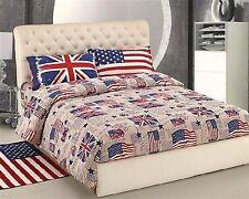 Copripiumino Matrimoniale  UK USA copripiumini in Cotone Bandiere Bandiera