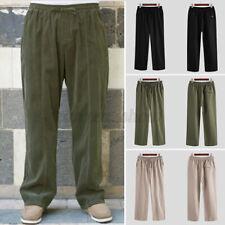 Men's Casual Loose Linen Harem Beach Yoga Long Pants Hippy Baggy Trousers Slacks