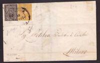 Parma, 10 c. bianco e 5 c. giallo affrancatura mista su lettera del 1854  -CD40