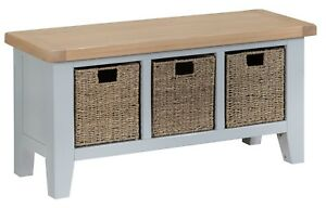 CANTERBURY GREY PAINTED OAK LARGE HALL BENCH / GREY BENCH / BENCH WITH DRAWERS