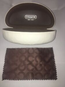 "COACH SUNGLASSES / GLASSES HARD CASE CLAM SHELL STYLE WHITE WITH EMBOSSED ""C"" LO"
