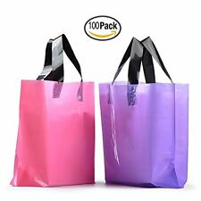 YOUKEE 100PCS Frosted Plastic Gift Bags Shopping Bags with Handles Pink and P...