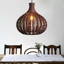 Rattan & Ceiling Wicker Shade Bar Pendant Light Round Lamp Bamboo Decorative