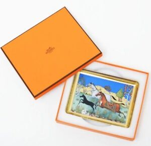 HERMES Porcelain Bread Plate Tray Tableware Cheval d Orient Horse Animal New
