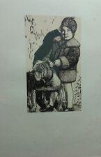 """Alberto Zanverdiani-Xilografia originale """" Due buoni amici """" ( rif. 89 )"""