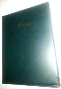 QTY 20 A4 MENU COVER/FOLDER GREEN LEATHER LOOK PVC - CLASSIC LOOK+GUILT CORNERS