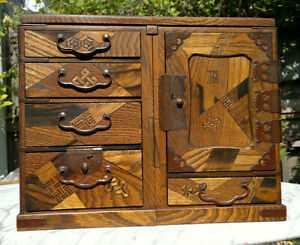 Antique Japanese Tansu Marquetry Scholars Travelling Writing Desk Meiji Period