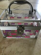 Caboodles Clear Make Up Storage Travel Box Pink/Purple With Handle
