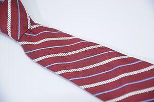 Brooks Brothers Fleece Boy's Maroon Red White Ribbon Striped Silk Neck Tie