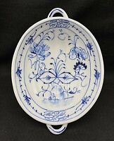 "Antique Delft Porcelain Blue Onion Ribbed Oval Bowl with Handles 8.25"" x 6"""