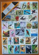200 DIFFERENT THEMATIC USED MIXED STAMPS - BIRDS