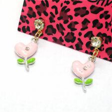 Love Flower Crystal Stand Earrings Gift Hot Betsey Johnson Pink Enamel Lovely