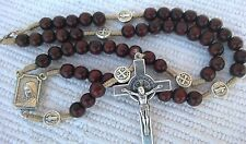 Wooden wood  St. Benedict rosary Benedict cross medals with Medjugorje soil