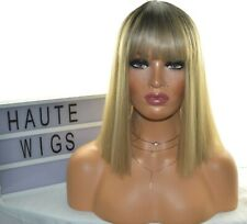 "SUPER STRAIGHT WIG 14"" OMBRE LIGHT BLONDE OMBRE FRINGE BANGS HUMAN HAIR SHORT"