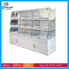 """80"""" Bakery Showcase Donuts Pastry Display Case Shelf Curve Glass Cabinet New"""