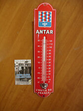 PLAQUE EMAILLEE thermometre ANTAR HUILE BIDON STATION ESSENCE   thermometer