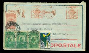 BRAZIL 1933 AIRMAIL multifranked AEROPOSTALE cvr to UK 11200r inc meter stamps