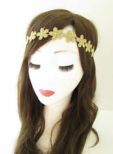 Gold Lace Daisy Flower Headband Ibiza Festival Coachella Hair Band Elastic Z61