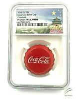 2018 Fiji Coca Cola Bottle Cap Silver Coin NGC PF70 TEMPLE LABEL Box & COA #025