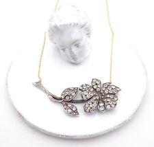 Necklace Art Deco Diamente Flower Pendant Necklace 9ct Gold Chain