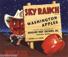 APPLE CRATE LABEL YAKIMA WASHINGTON VINTAGE ANTHROPOMORPHIC WESTERN 1950S COWBOY