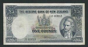 NEW ZEALAND 5 POUNDS 1962  VF